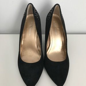 1e0321d97601 BCBGeneration Shoes - BCBGeneration Black Suede Rhinestones Wedge Heels